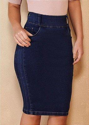 Saia Jeans Reta com Relevo Lateral Titanium Jeans - 25121