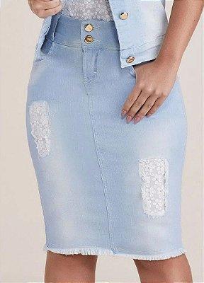 Saia Jeans Detalhes Em Lesie E Pérolas Nos Puídos Titanium - 24833