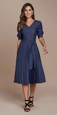 Vestido Marinho Plissado Jeans Titanium  - 25533