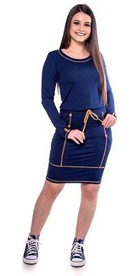 Vestido De Malha Com Botões E Cordão De Amarração Hadaza - 50697