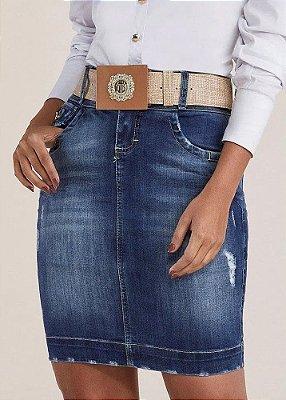 Saia Jeans Tradicional com Cinto Titanium Jeans- 24813