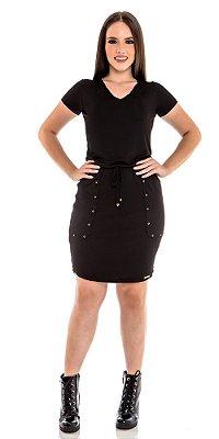 Vestido Malha Canelada Com Detalhes Em Tachas E Cordão Para Amarração Hadaza - 50692