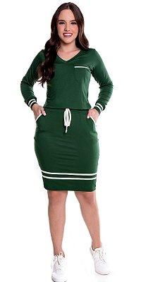 Vestido Verde Malha Manga Longa Com Cordão Para Amarração E Detalhes Em Viés Hadaza - 50758
