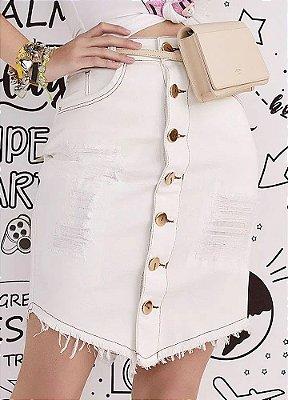Saia Jeans Tradicional Off White Com Detalhes Em Puídos E Botões Frontais E Barra Em Bico A Fio Império Z - 56220