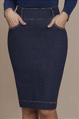 Saia Reta Jeans 62 Cm Titanium - 25395