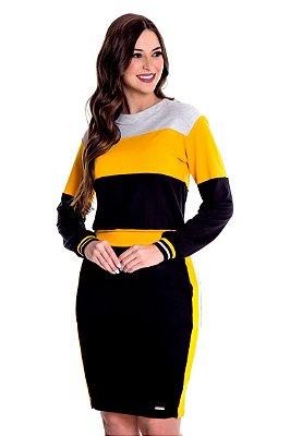 Conjunto Moletom Color Block Amarelo Fernanda Hapuk - 49228