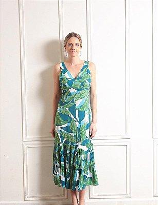 Vestido Regata Midi Três Marias Transpassado Nas Costas Estampado - 2303