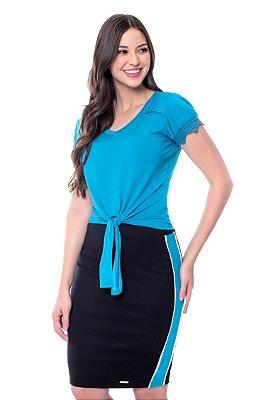 Conjunto Malha Amarração Frontal Azul Luciana Hapuk - 49154