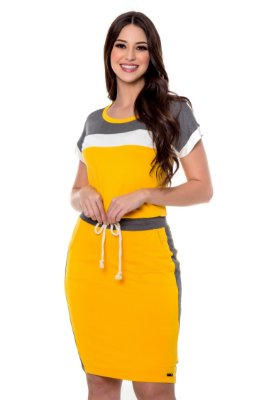 Conjunto de Composê Malha Lisa com Malha Canelada Amarelo Hapuk - 49203