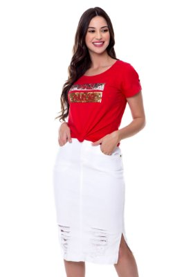 Saia Jeans com Elastano Branca Bianca Hapuk - 28772