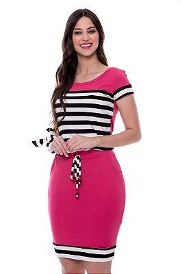 Vestido Rec Listras Pink Emilie Hapuk - 60543