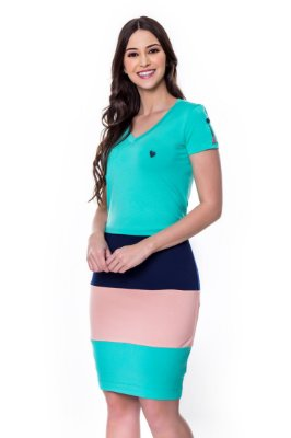 Vestido de Malha com Rec Coloridos Verde Eveline Hapuk - 60601