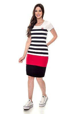 Vestido Listrado Rec Coloridos Vermelho Ivory Hapuk - 60560
