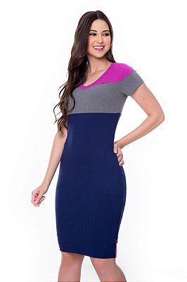 Vestido de Malha Canelada Rec Color Clock Fucsia Jeny Hapuk - 60566