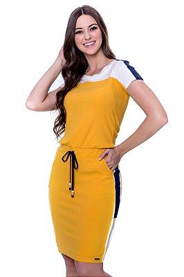 Vestido de Malha Canelada Vivos Amarelos Hapuk - 60544