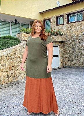 Vestido Longo Com Manga Curta Bicolor Verde E Terracota - 20091