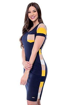 Vestido Malha Rec Laterais Listrados Samanta Hapuk - 60565
