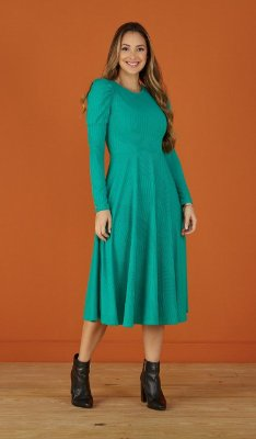 Vestido Midi Evasê Malha Canelada Verde Isabela Tatá Martello - 6132