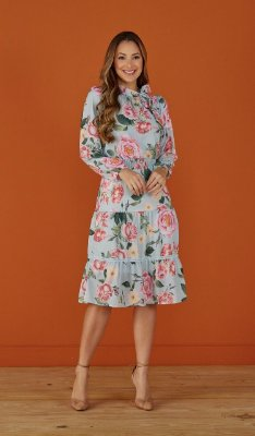 Vestido Evasê Crepe Floral Silvana Tatá Martello - 6055