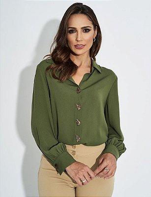 Camisa Verde Com Botões Assimétricos E Punho Drapeado - 2164