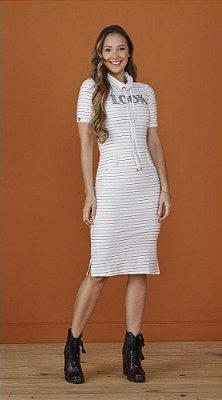 Vestido Justo Listrado Off White Melissa Tatá Martello - 8192