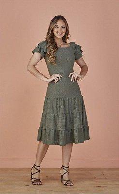 Vestido Laise Midi Três Marias Verde Lara Tatá Martello - 8112