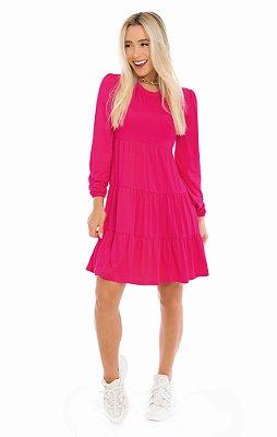 Vestido Pink Em Malha Três Marias Manga Longa - 500492