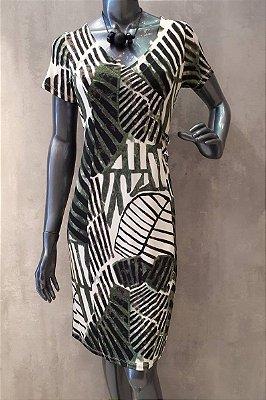 Vestido Tubinho Estampado Em Malha Stretch Com Manga Curta E Detalhe Na Lateral - 10041