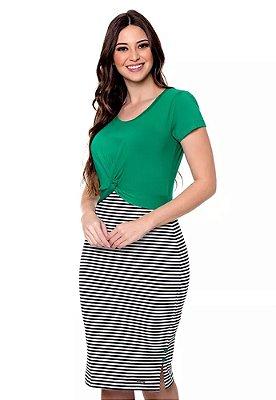 Vestido Verde Com Detalhe Em Torção Na Frente E Listras Daphne Hapuk - 60627