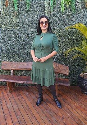 Vestido Verde Três Marias Manga Curta Com Detalhe Em Torção Na Frente - 121181