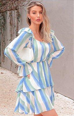Vestido Estampado Com Manga Longa E Babados - 3426
