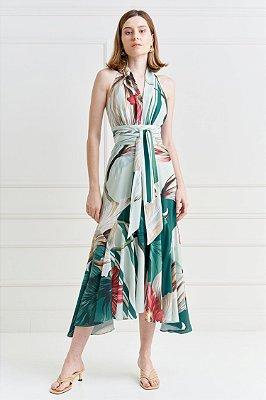 Vestido Regata Midi Estampado Com Babado E Acompanha Cinto Faixa - 21081