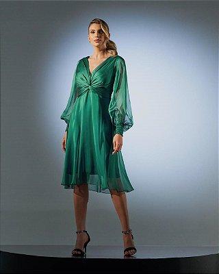Vestido Midi Verde Em Mousseline Toque De Seda Manga Longa Bufante Com Decote Transpassado - 2101029