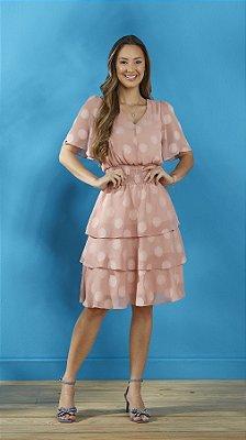Vestido Evasê Rose Em Chiffon Poá Texturizado Com Lastex Na Cintura Tatá Martello - 9001