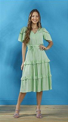 Vestido Evasê Verde Em Viscolinho Com Detalhes De Babado Tatá Martello - 9011