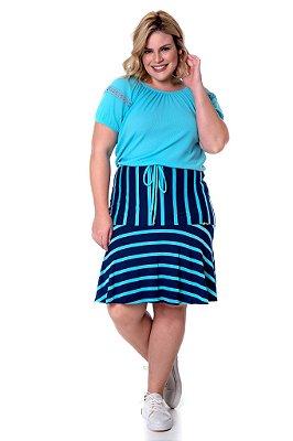 Vestido Evasê Azul Claro Com Listras Manga Curta Com Guipir Hadaza - 50824