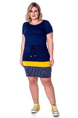 Vestido Em Malha Azul Marinho Com Recortes Em Amarelo E Branco Hadaza - 50836