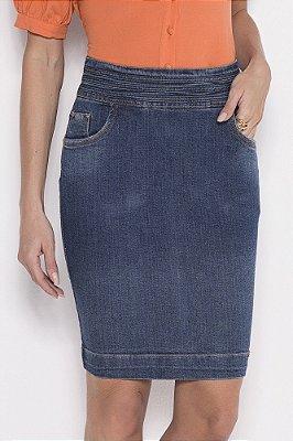 Saia Reta Jeans Com Detalhe De Viés Sobreposto No Cós Laura Rosa - 89750