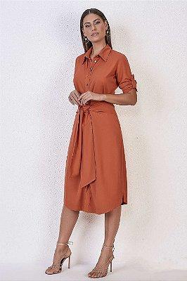 Vestido Chemise Midi Em Sarja Laranja Com Detalhe De Amarração Frontal Titanium - 25609