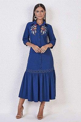 Vestido Jeans Midi Evasê Com Bordado Floral Titanium Jeans - 25796