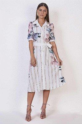 Vestido Midi Em Crepe Com Estampa Floral E Listras Titanium - 25578