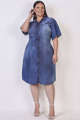 Vestido Chemise Jeans Sky Plus Acompanha Cinto Faixa Titanium Jeans - 25794