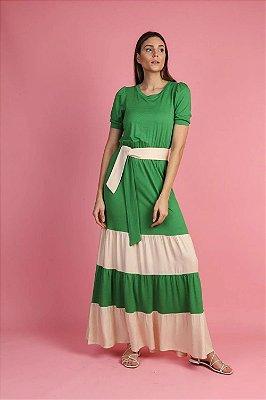 Vestido Longo Verde Com Recortes Nude Acompanha Cinto Faixa - ANB11106