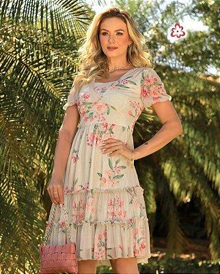 Vestido Floral Em Tule Duas Marias Maria Amore - 3535