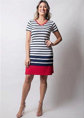 Vestido Em Viscocrepe Com Listras E Detalhes Em Vermelho Plus - 945711