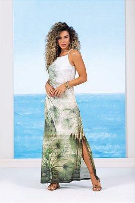 Vestido De Alça Longo Estampado Com Fendas Laterais - 102606