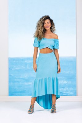 Saia Longa Azul Claro Mullet Em Ribana Trabalhada - 102594