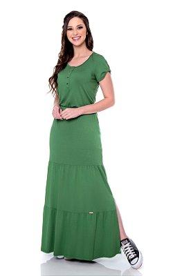 Vestido Longo Duas Marias Verde Com Abotoamento Frontal E Fendas Laterais Hapuk - 60704