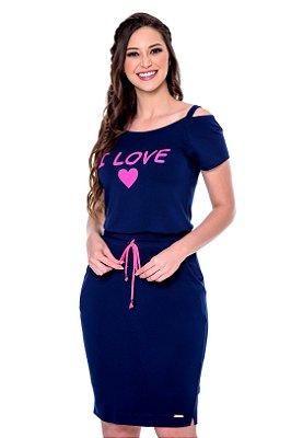 Conjunto Azul Marinho Em Moletinho De Saia E Blusa Com Vazado Nos Ombros E Estampa Silk Hapuk - 49245