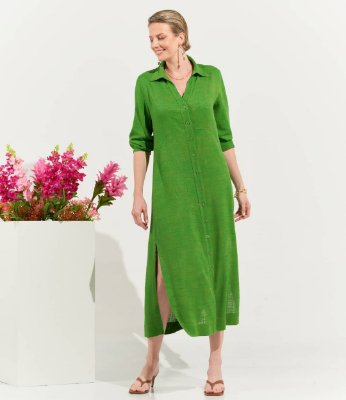 Vestido Chemise Longo Verde Em Viscolinho Verde Com Fendas E Bolsos Laterais - 2403